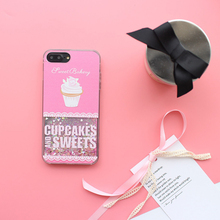 Cute Sweet Cupcakes ice cream phone cases for iphone 6 6s 7 plus 6plus 7plus covers dynamic liquid quicksand glitter star coque