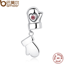 BAMOER Summer New Collection 925 Sterling Silver Heart Gloves Pendants Charm fit Bracelet Wedding Gift SCC033(China)