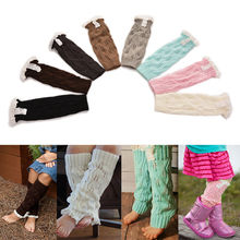 1 Pair Soft Winter Warm Kids Girls Baby Trendy Knitted Lace Leg Warmers Infants Toddlers Trim Boot Cuffs Socks Knee High