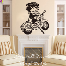 Betty Boop Biker Motorcycle Wall Sticker Kids Room Living Room sexy Betty Boop girls novelty Vespa Wall Decal Bedroom Vinyl DIY(China)