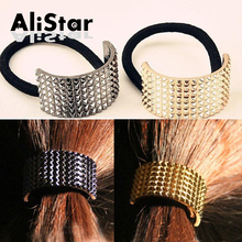 Fashion Hair Accessories  elastic Hair bands for women Gold plated Black headbands punk style hair ties holders scrunchy #JH008