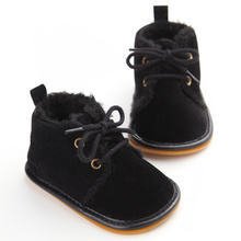 Vintage Rubber Bottom Winter Baby Shoes Boots Non-Slip Newborn Infant T-tied First Walkers Super Warm Baby Booties Zapatos(China)
