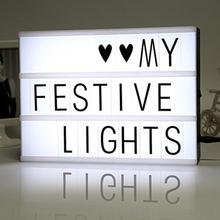 DIY Cinema Light Box With 90 Letters Symbols LED marquee Light A4 A5 A3 Luminous Plaque Box Wedding Xmas Decor Sign f Classroom