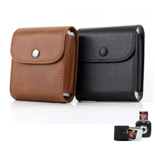 Retro Leather Button Storage Bag Pouch Photo Case For Fujifilm Instax Spuare SQ10 Camera Films (with Buckle to Attach on Strap)(China)