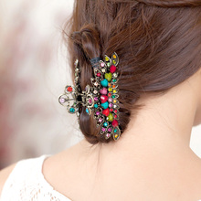 High Quality Vintage Hair Jewelry Crystal Rhinestones Hair Claws Hair Clip For Women Girls(China)