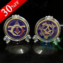 Masonic Freemasonry coins,2015 Newest challenge coin, Free shipping 5 pcs/lot ,40*3mm Iron with gold plated coin(China)