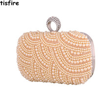 Europe and the Pearl Diamond bride wedding dinner bag hand bag buckle ring chain bag(China)