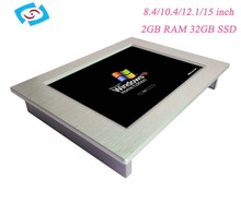 "Factory Supply 15 inch LCD fanless industrial panel PC Monitor 15"" TFT VGA 32G SSD&2G RAM"