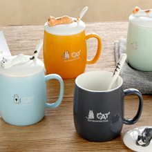 3D Cups Cute Cat Style Ceramic Mugs 420ml with Lid & Spoon Cartoon Creative Tea Cup Moring Mug Milk Coffee Unique Porcelain Cups(China)