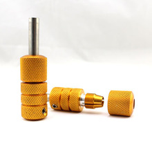 5PCS 22mm Auto-Lock Tattoo Grip Gold Aluminum Alloy Handle Grips With Back Stem & Set Screm Supply Free Shipping TG-272