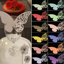100 Pieces Table Mark Wine Glass Laser Cut Pearlescent Butterfly Name Place Cards for Wedding Party Decoration Products Supplies