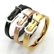 Luxury Stylish New Fashion Men/Women Stainless Steel Bangles For Women Gold Color Adjustable Belt Buckle Bracelets & Bangles