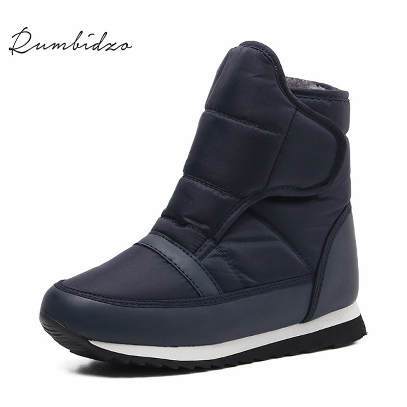 Rumbidzo 2018 Hot Women Boots Round Toe Flat Heel Woman Winter Boots Snow Boots Short Plush Warm Hook Loop Bootie Sapatos<br>