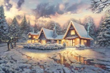 Christmas Lodge Limited Edition Thomas Kinkade HD Canvas Print Home Decoration Living Room Bedroom Wall Pictures Art Painting(China)