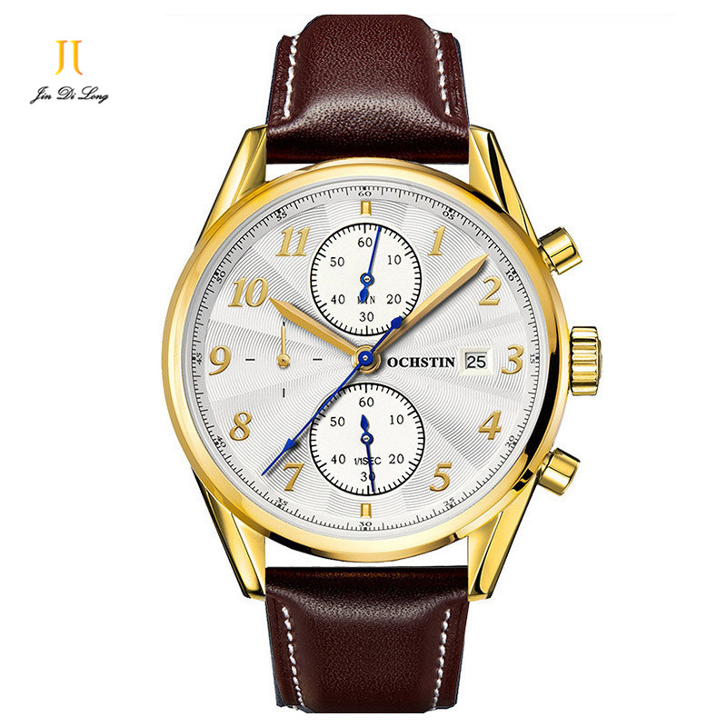 New Multifunction Watches Waterproof Wristwatches Male Table Fashion Leather Watchband Timing Men Quartz Watch<br>