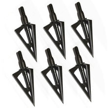 6pcs Stainless Steel Broadheads 3 Fixed Blades Sharp Arrow Head Hunting Shooting 100 Grain Archery Arrowheads Tip Target Black