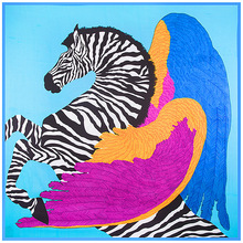 Lady's Gift 130*130cm 100% Pure Silk Euro Brand Style Women Zebra Horse and Wings Feather Silk Square Scarf Femal Fashion Shawls