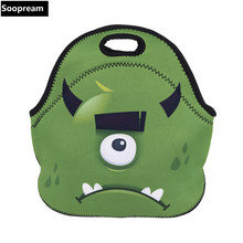 free shipping Unicorn one-eyed beast Thermal Insulated Neoprene Lunch Bag Women Kids Lunchbags Cooler Lunch Box Insulation Bag(China)