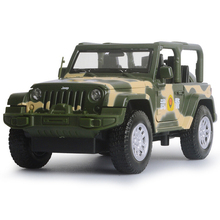 Hot 1:32 scale wheels Military army swat Off-road vehicle Jeep wrangler Rubicon diecast car light & sound alloy pull back toys(China)