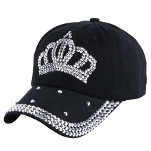 cheap promotion denim caps new fashion women girl men boy rhinestone crown baseball cap woman hip hop snapback hats gorras(China)