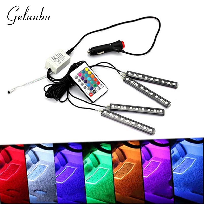 Gelunbu 12V Car RGB LED DRL Strip Light Car Auto inner Light Source Remote Control Decorative Flexible LED Strip Atmosphere Lamp<br><br>Aliexpress