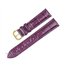 Red Purple White Alligator Crocodile Grain Genuine Leather Watch Band Strap Gold Pin Buckle 18mm 20mm 22mm