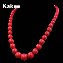 Kakee Turquoises Red Stone Round Strand Bead Statement Necklace for Women Gift Ethnic Minimalist Tibetan Fashion Jewelry