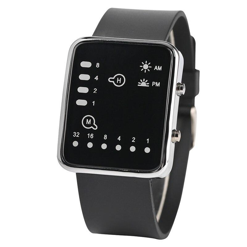 Cool LED Binary Watch Blue Backlight Fashion Men Women Geek Digital Wristwatch Soft Black Silicone Band Sport Watches Army Clock (2)