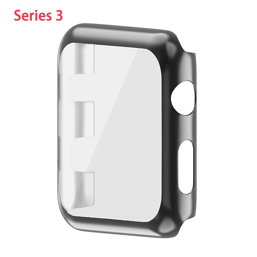 Plastic Protection Cover with Screen Protector Two in One Full Body Cover Case for Apple Watch 38/42mm Electroplate  Protective