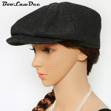 BooLawDee nice looking newsboy cap woolen blending Spring and Autumn leisure casual adults stripe hat beret painter 01B-12