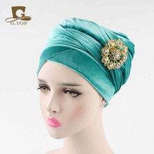 New women luxury hijab velvet Turban Head Wrap Extra Long velour tube Headwrap Scarf Tie with jewelry brooch(China)