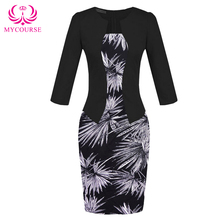 Buy MYCOURSE 2017 Women Autumn Elegant Formal Sheath Dress Business Office Pencil Dress False Jacket Floral Peint One Piece Dresses for $9.95 in AliExpress store