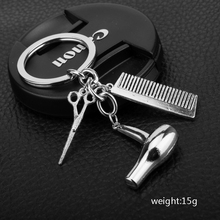 Creative Jewelry Barber Shop Hair Dryer/Scissor/Comb Keychain Hot Selling Keyrings Key Chain Chaveiro Hair Dresser Gifts(China)