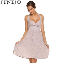 Buy FINEJO Sexy Party Dresses 2018 New Fashion Casual Halter Backless Polka Dot Fit Flare Dress Women's Clothes