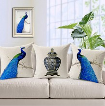 The Elegant Blue Peacock Blue And White Porcelain  Pillow  Vintage Euro Massager Decorative Pillows Propitious Gift