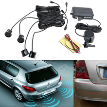 New Car Backup Reverse Radar Rearview 4 Parking Sensors Buzzer Sound Alarm Black