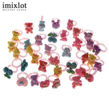 Imixlot 50pcs/lot Mix Animals Flower Assorted Plastic Baby Kids Girl Children's Cartoon Rings Wholesale Jewelry