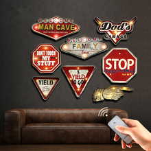 Man Cave Remote Controller LED Neon Sign Garage Bar Cafe Club Home Decor Wall Painting Illuminated Hanging Metal Signs YN083(China)