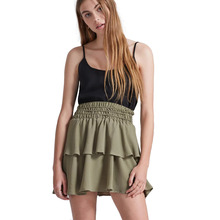 Army green tiered ruffle mini skirts for women stretchy high waisted short layered skirts ladies cute A-line pleated skirts