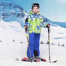 Children Clothing Set Baby Boys Outwear Kids Skiing Suit 2PCs Winter Warm Wool Jacket Coats Ski Pants Toddlers Outdoor Clothes(China)
