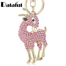 Lovely Sheep Goat Key Chains Holder Crystal Purse Bag Buckle HandBag Pendant For Car Keychains Keyrings K259(China)