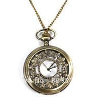 wholesale buyer price good quality fashion lady woman girl quartz bronze brass vintage flower pocket watch necklace(China)