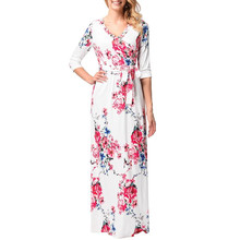 2018 Women Clothing Robe Dresses Half Sleeve Floral Print Large Size Bodycon Clubbing Dress Party Tunic Maxi Evening Vestido(China)