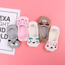 5 пара/лот, летние хлопковые тонкие красивые женские лодочные носки с рисунками животных милые женские носки для девочек, Новые забавные нос...