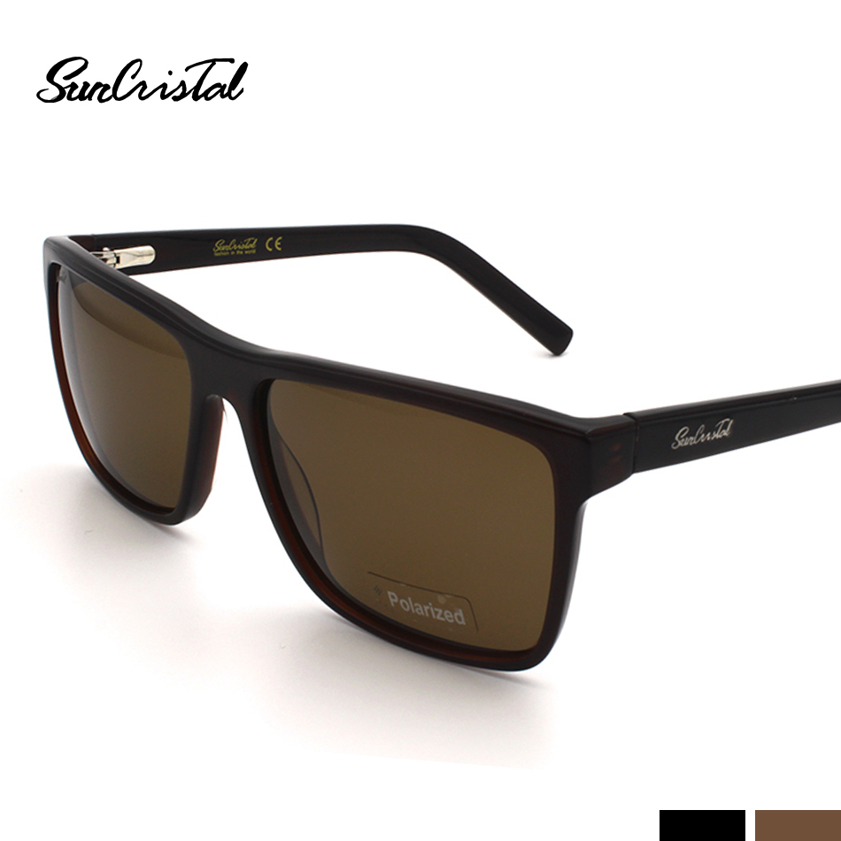 SunCristal Men Big Frame Polarized 400 UVA/UVB Luxury Hand Made Acetate Rectangle Sunglass Black or Havani Available 1117<br><br>Aliexpress