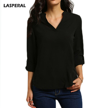 Buy LASPERAL Sexy V-Neck Chiffon Shirts Women Fashion Long Sleeve Tee Shirt Female Plus Size 5xl Casual Spring Autumn Solid Tee Tops for $6.42 in AliExpress store