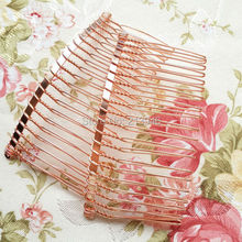 80*40MM 20PCS ( Rose Red Gold) Metal Hair Comb Claw Hairpins DIY Hair Accessories Findings & Components(China)