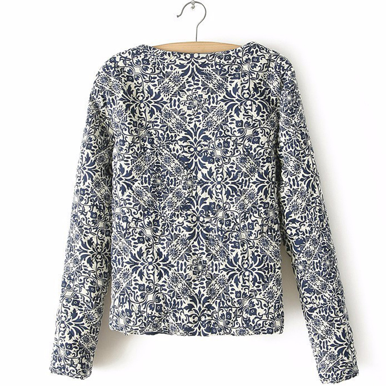 Spring Autumn Retro Print Blue White Round Neck Full Sleeve Jacket Female Embroidered Coat For Women Embroidery Slim Tops (Us 4-10)
