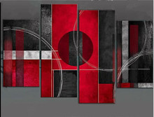 Modern Abstract Geometric Oil Painting On Canvas 4 Panel Wall Art Sets Home Decor Pictures for Living Room Red Black Paintings