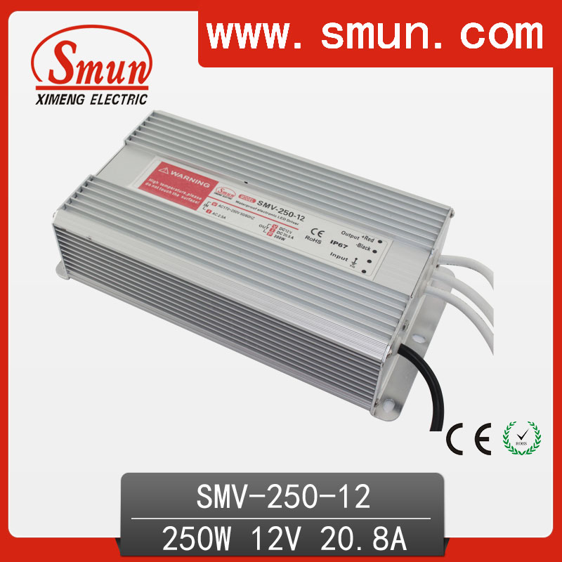 SMUN 250W 12V 20A Outdoor Waterproof IP67 Switching Led Driver Led Power Supply With CE RoHS SMV-250-12<br>